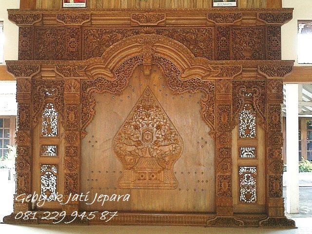 Jual Kusen Pintu Gebyok Klasik Classic Kayu Jati Ukir Wayang