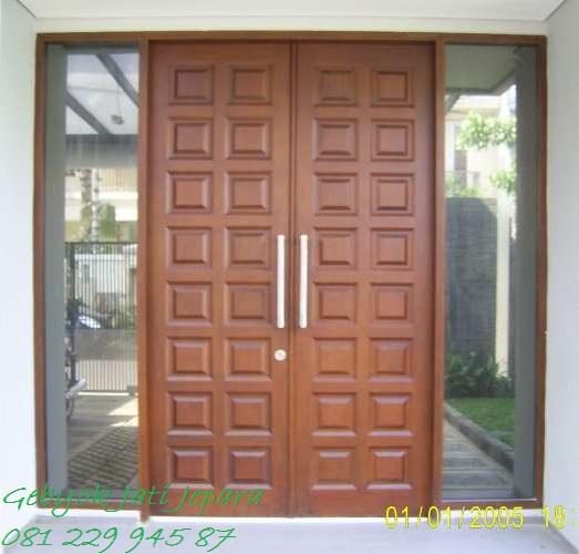 Jual Pintu Rumah Dan Kaca Kusen Dua 2 Pintu Kayu Jati Murah