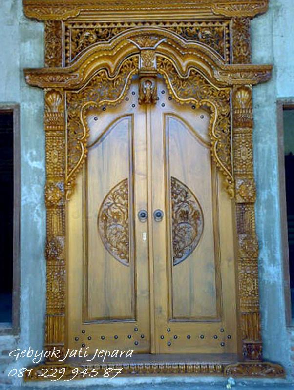 Jual Pintu Rumah Gebyok Gapuro Kayu Jati Ukir Jepara