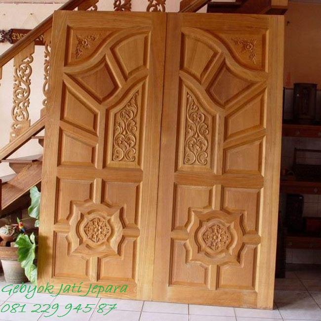 Jual Pintu Utama Rumah Kayu Jati Jepara Minimalis 2 Dua Pintu Murah