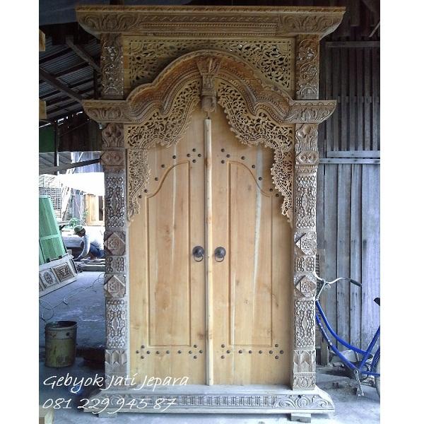 Jual Rumah Gebyok 2 Dua Pintu Kayu Jati Ukir Jepara Murah