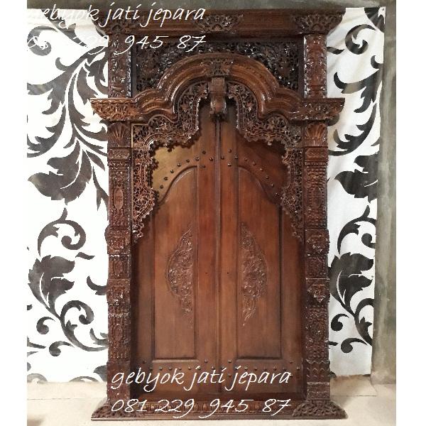 Jual Gebyok 2 Dua Pintu Harga Murah kayu Jati Ukir