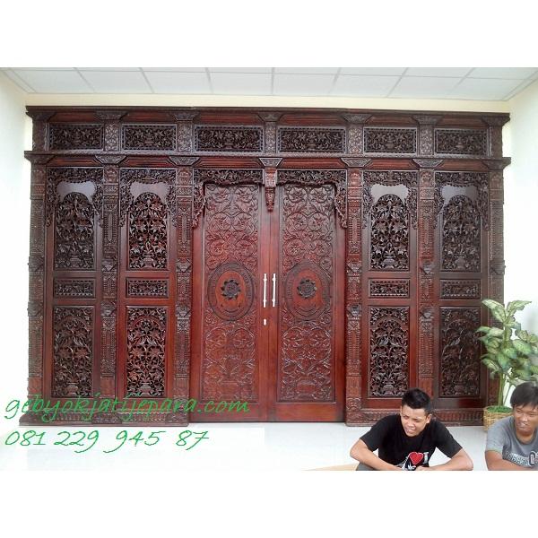 Jual Kusen Rumah Kayu Jati Ukir Jepara Pintu Gebyok Kudusan Bapak Alex Sulawesi Murah
