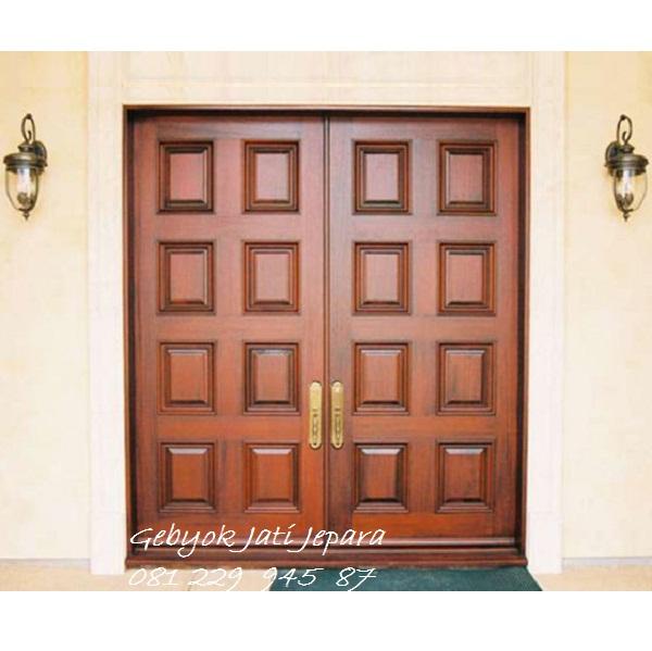 PINTU RUMAH 2 PINTU | Jual Pintu Rumah 2 Dua Pintu Kayu Jati Minimalis Mewah Modern Klasik Jepara Model Kusen Kupu Tarung Harga Murah