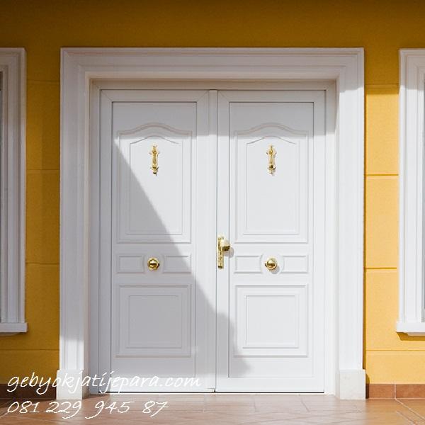 Jual Pintu Rumah Modern Model 2 Pintu Depan Utama Kayu Putih Jepara Minimalis Mewah Klasik Harga Murah