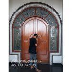 Jual Kusen Pintu Rumah Bapak Asropi Kalimantan Kayu Jati 2 Pintu Kupu Tarung Mewah Harga Murah