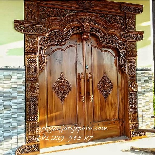 GEBYOK DUA PINTU MEWAH | Jual Gebyok Dua Pintu Mewah Klasik Model Kusen 2 Pintu Rumah Kayu Jati Ukir Jepara Harga Murah