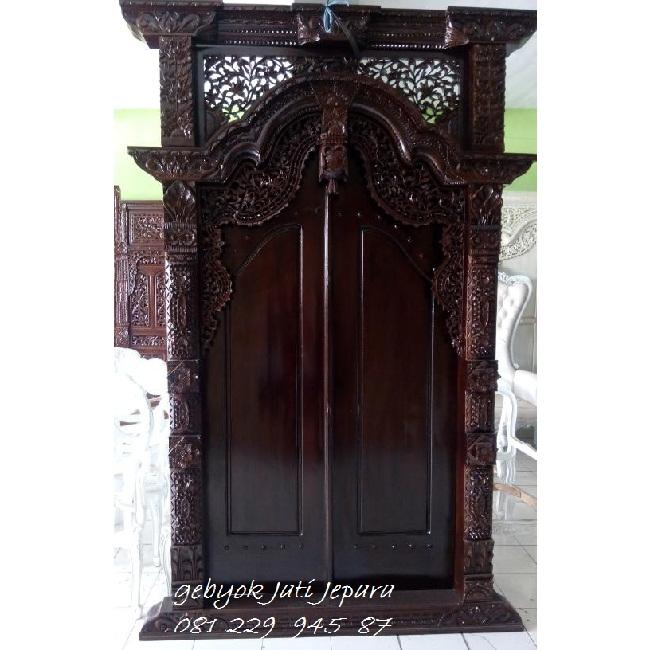 GEBYOK DUA PINTU MURAH   Jual Harga Gebyok Dua Pintu Murah Model Kusen 2 Pintu Rumah Kayu Jati Jepara Ukir Minimalis Mewah Modern Klasik