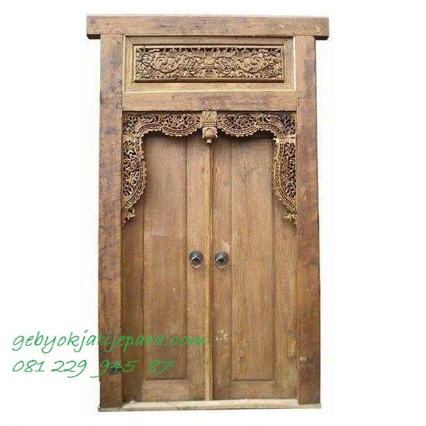 GEBYOK DUA PINTU KUNO | Jual Gebyok Dua Pintu Kuno Kayu Jati Ukir Jepara Model Kusen 2 Pintu Kamar Rumah Mewah Klasik Harga Murah
