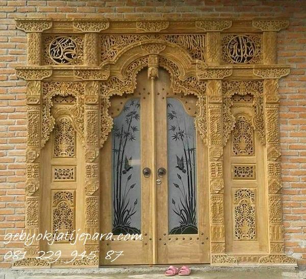 GEBYOK JEPARA MODERN >> Jual Gebyok Jepara Modern Mewah Model Kusen 2 Pintu Kaca Kamar Rumah Kayu Jati Ukir-Ukiran Harga Murah